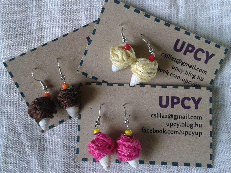 Ice cream earrings, shell + yarn.  Csigaház és fonal fagyi fülbevaló.
