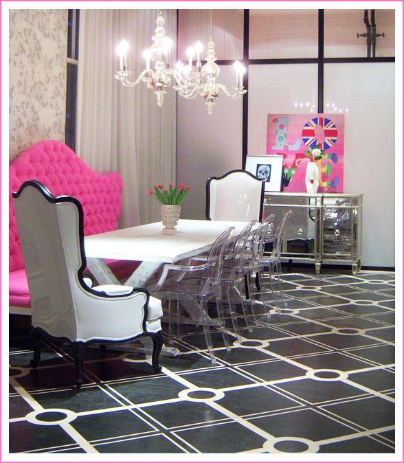 Love Art Plus Hot Pink Tufted Settee Sofa Glossy White