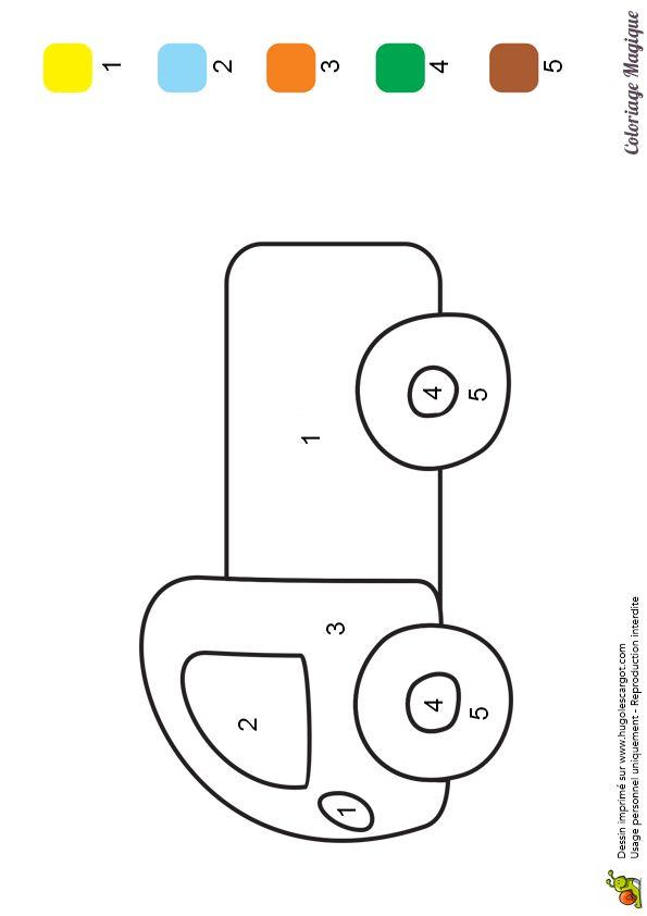 coloriage magique maternelle camion à imprimer sur hugolescargot.com