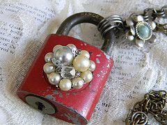 embellished vintage padlock necklace