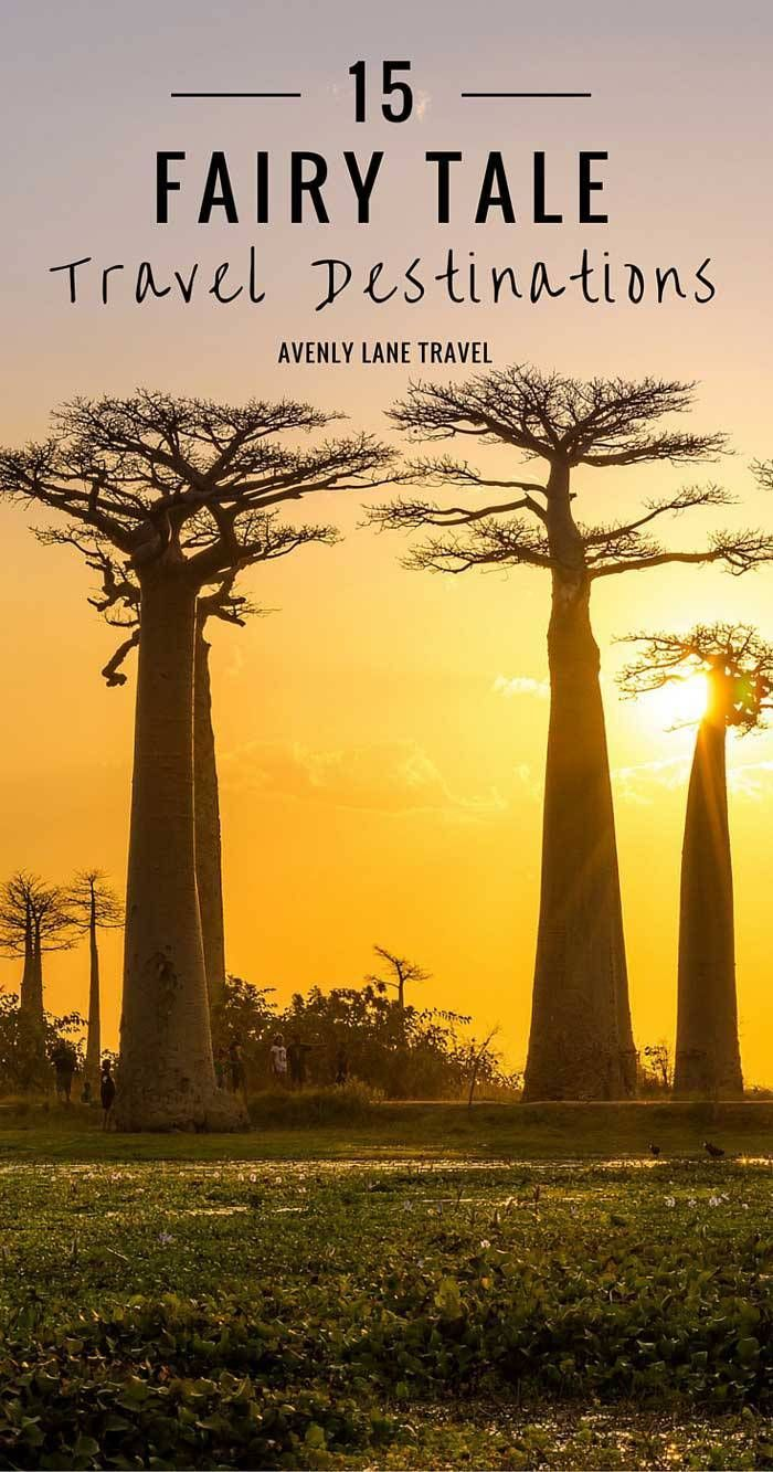 Avenue of the Baobabs in Madagascar. Yes, those trees are real! Madagascar's isolation has given rise to some incredibly unique features. Click through to see 15 more Fairy Tale Travel Destinations! - Avenly Lane Travel