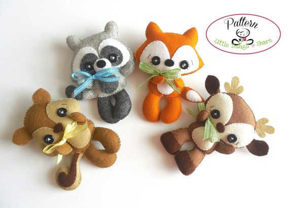 WOODLAND FRIENDS - SET OF FOUR (PDF)  These adorable WOODLAND FRIENDS are quick, easy and fun to make, but also so versatile! You can make a lovely garland for a kidss room or nursery decor; even better, you can add them to a very cute baby mobile. This PDF document will give you instructions and patterns to hand-sew all FOUR animals. This set includes BROWN the Deer, TAIL the Fox, STRIPES the Raccoon and ACORN the Squirrel. they all measure about 5 Inch.  **You will receive an electronic…