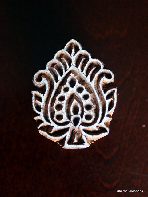 Hand Carved Indian Wood Textile Stamp Block- Paisley/Floral Motif