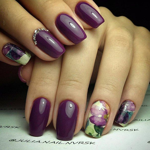 Accurate nails, Cherry nails, Evening nails, Exquisite nails, Luxury nails, Manicure by summer dress, Nails ideas 2016, Nails trends 2016
