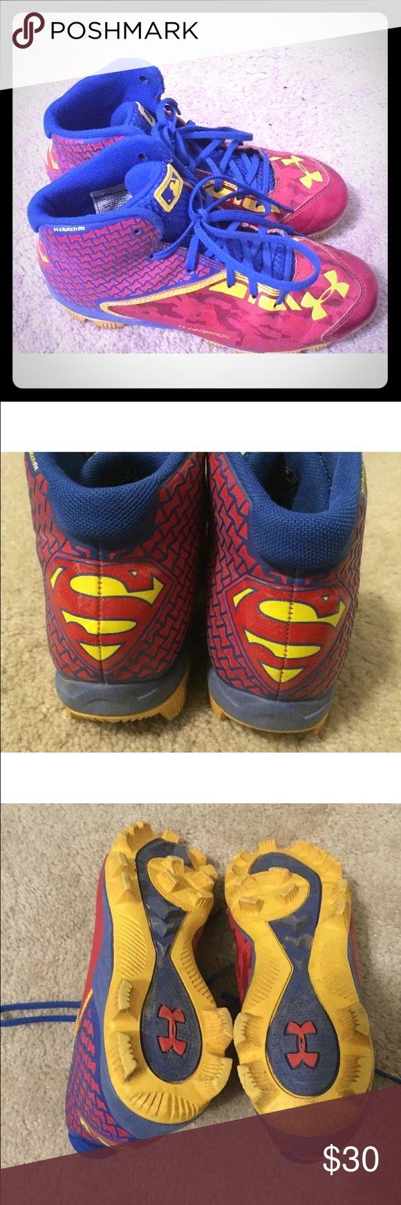 Under Armour ClutchFIT SUPERMAN Cleats sz 4.5 Boy Under Armour ClutchFIT Alter Ego SUPERMAN Baseball Cleats sz 4.5 Boys Cleats Great lightly worn cleats! Under Armour Shoes Sneakers