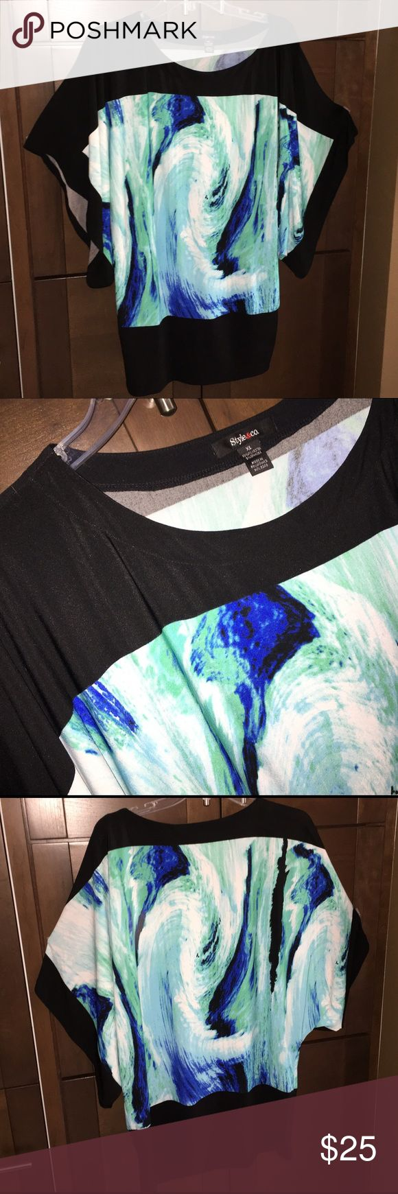 """Batwing tunic Worn ONCE. Pretty batwing tunic with blue, white and green swirl pattern and black accents along edges and bottom. 33"""" long shoulder to hem. 95% polyester, 5% spandex. Soft knit, very comfy and flattering. Style & Co Tops Tunics"""