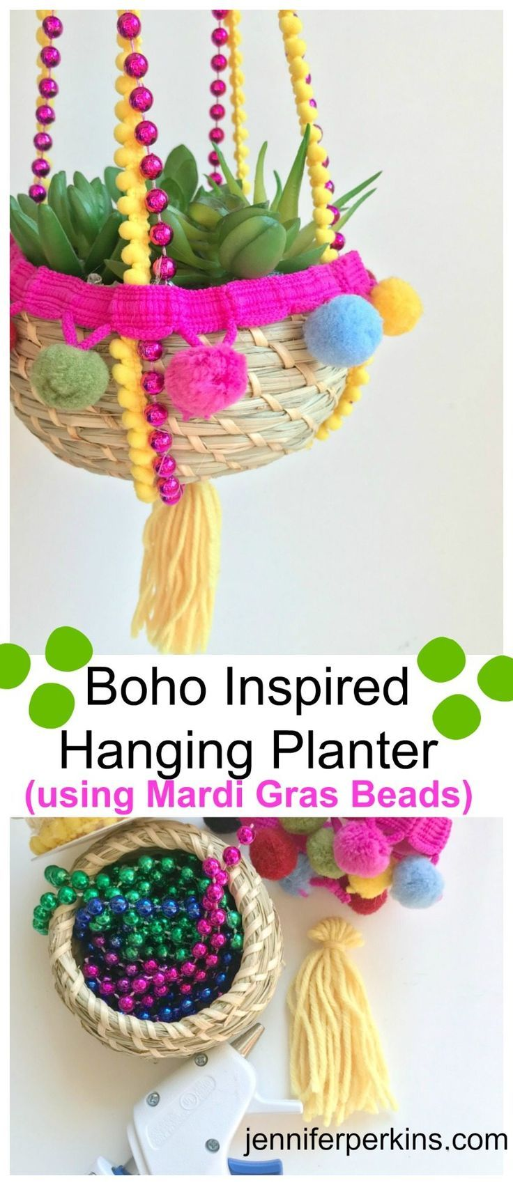 Recycle those old Mardi Gras beads into a fun new DIY hanging basket planter by Jennifer Perkins #JenniferPerkins #diy #diyproject #crafts #planter #planters #hangingplanter #crafty #CreateEveryday #DoItYourself