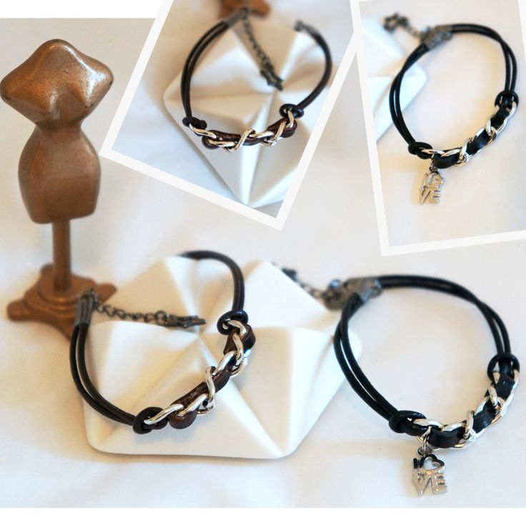 Leather weaved with Stainless Steel bracelet, handmade
