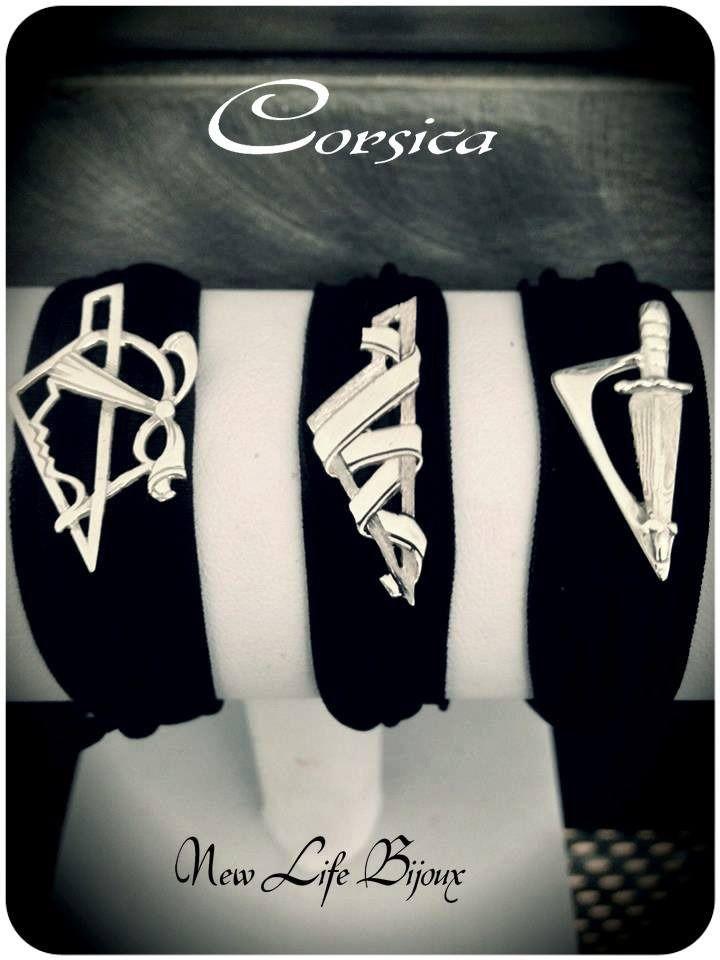 Bracelet en lycra noir avec motif Corse : Bracelet par newlifebijoux