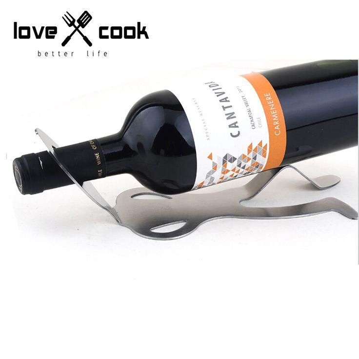 Stainless Steel Humanoid Wine Rack Silver Champagne Bottle Hanging KTV Bottle Wine Holder Bottle Holder