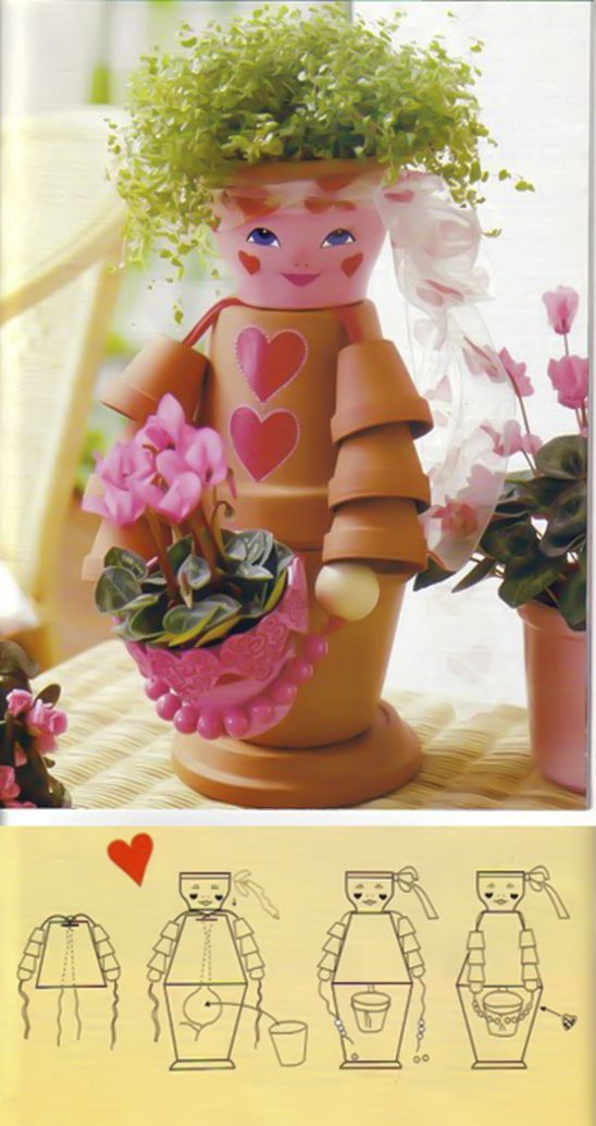 clay pot girl holding anothe flower pot plus sketch
