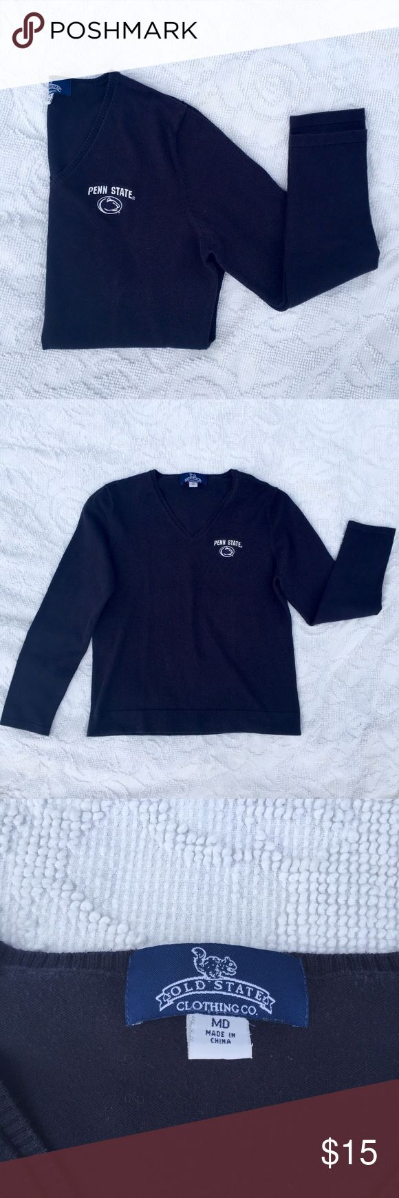 Ladies Penn State V-Neck Lightweight Sweater Penn State V-Neck Long Sleeve Lightweight Sweater in navy with a PSU logo. Slightly faded from wear and some light pilling under armpit area. Perfect for fall tailgates or a cool summer night. 70% Combed Cotton, 30% Nylon. Old State Clothing Co. Sweaters V-Necks