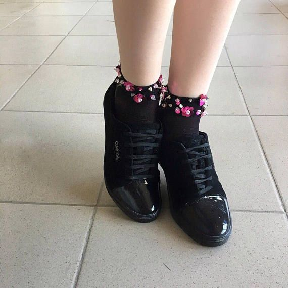 Socks lurex socks socks with flowers socks with thorns
