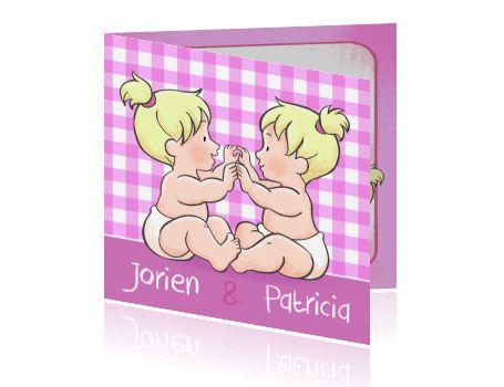 Speelse geboortekaart tweeling meisjes