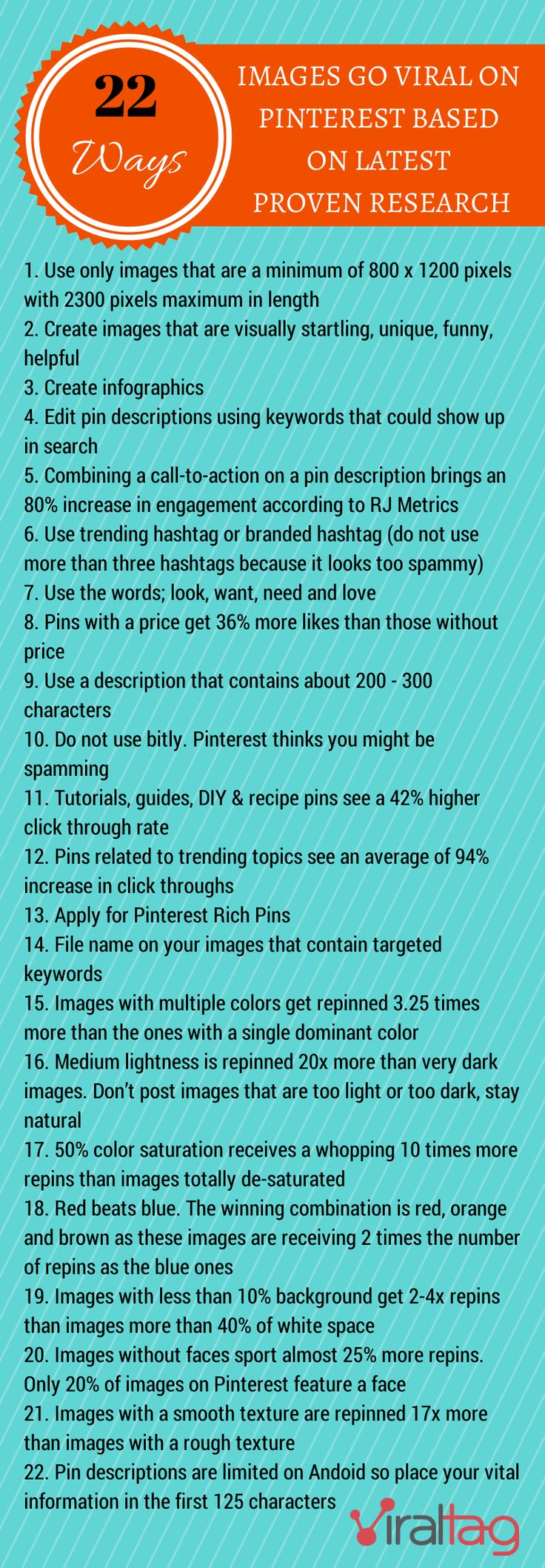 #PinterestConsultant shares 22 ways to improve your images to increase your chance of getting click thrus or even going viral based on the latest research. Go here to read the full article http://blog.viraltag.com/2014/04/06/22-ways-images-go-viral-on-pinterest-based-on-latest-proven-research/ #PinterestInfographics #PinterestForBusiness