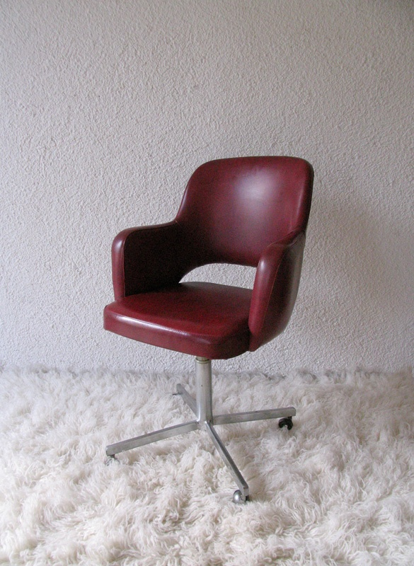 upholstered armchair with original red skay