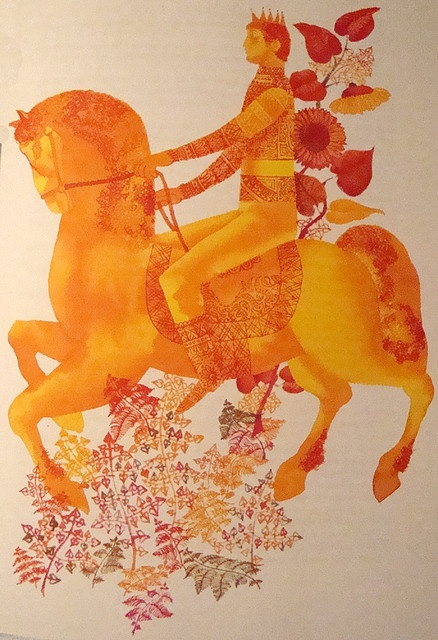"""""""The Prince & His Magic Horse: Hungarian Folktales."""" Illustrated by Gabriella Hajnal. Athenaeum Printing House, Budapest, 1975"""
