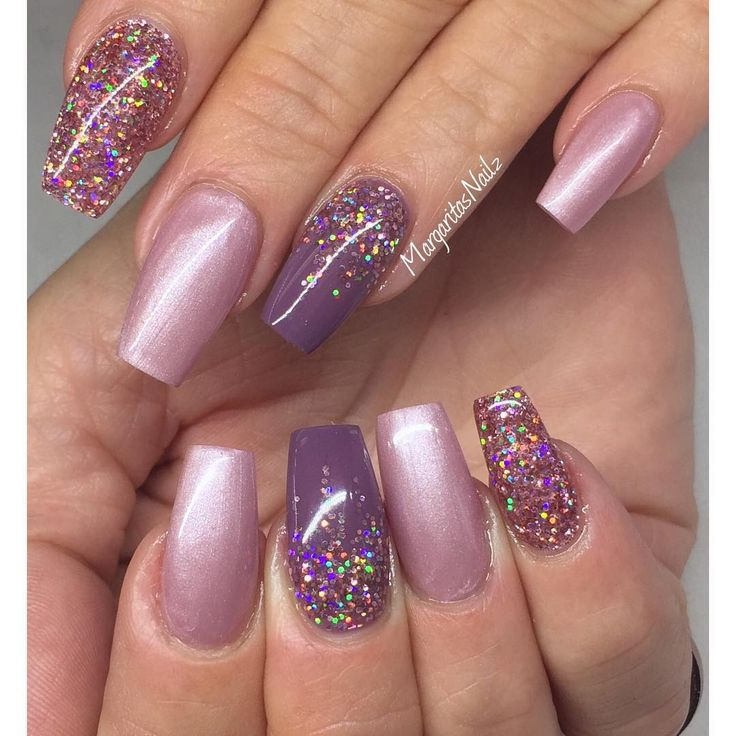 Blush + Purple + Glitter Square Tip Nails By @margaritasnailz #nail #nailart | Nails | Pinterest ...