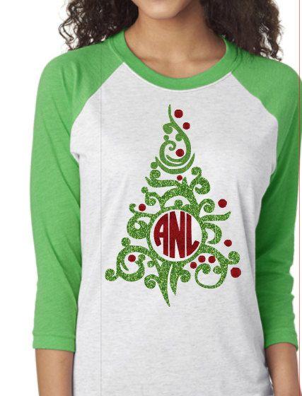 Christmas Tree Monogram Raglan Shirt -Green Sleeve by Momonherown on Etsy https://www.etsy.com/listing/491651661/christmas-tree-monogram-raglan-shirt