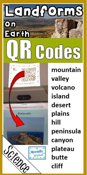 Landforms and Features on the Surface of Earth QR codes for