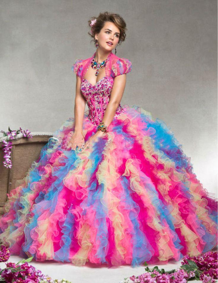 2 015 Дешевые радуги органза Quinceanera платье Складки Кристалл Бисероплетение Бал-маскарад платья vestidos де сладкие платья 16