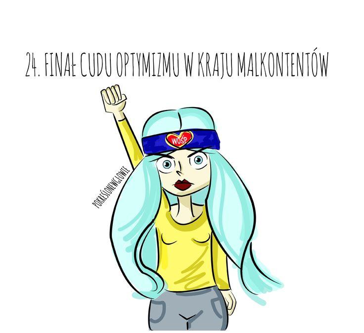 wośp, kobieta, optymizm, rysunek, polska, blog z rysunkami