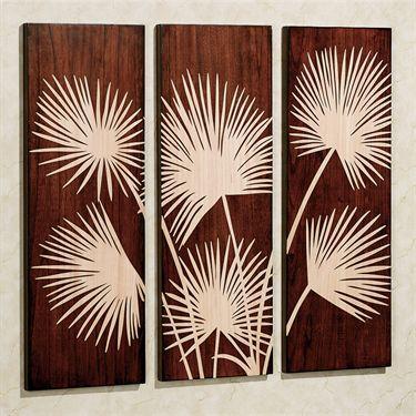 graceful palms classic cherry wooden triptych art