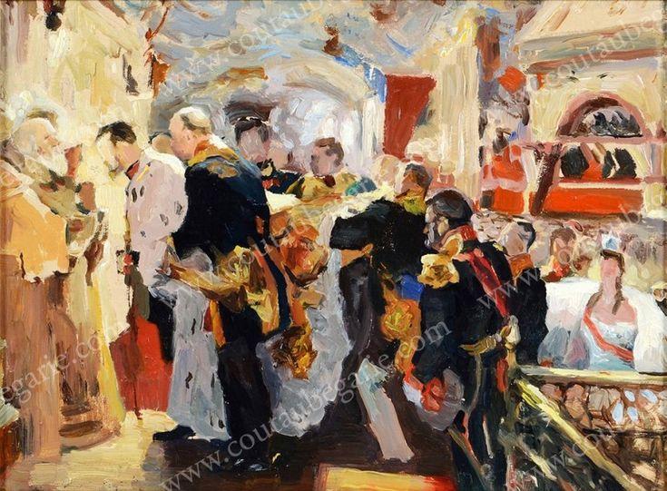 SEROV Valentin Alexandrovitch (1865-1911), attribué à Sacrement de l'empereur Nicolas II dans la cathédrale de la Dormition. Huile sur toile marouflée sur un panneau moderne, conservée dans un encadrement… - Coutau-Bégarie - 20/05/2015