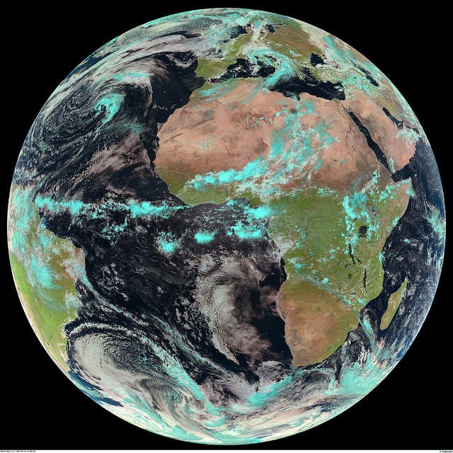 A full-disc satellite image of the Earth, taken by our Meteosat 10 satellite at 12:00 UTC on April 22nd 2013, to mark the occasion of Earth Day 2013.