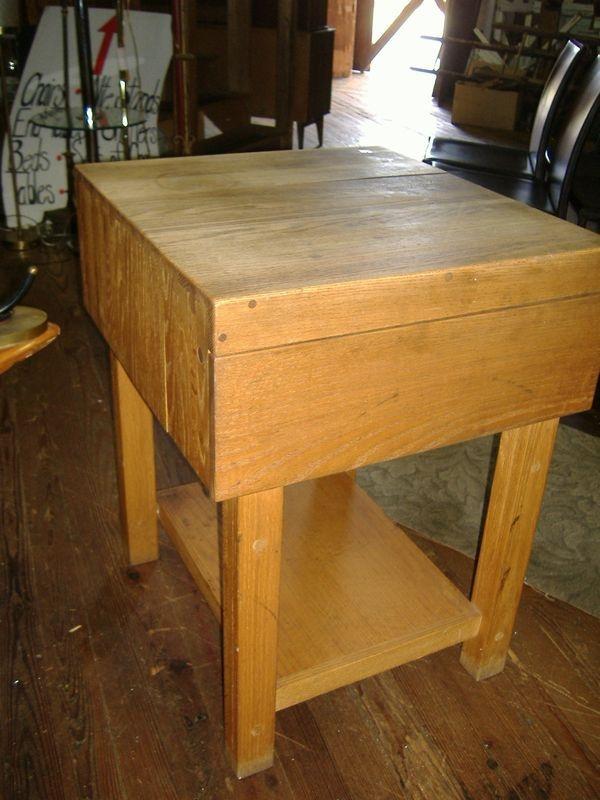 modern oak butcher block table island vintage mid century center island