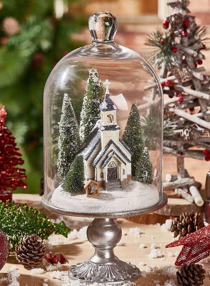 Snowy Church Christmas Cloche