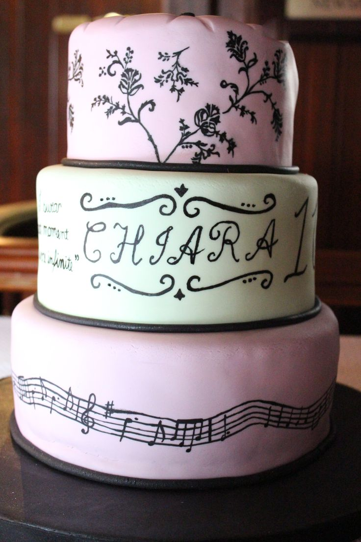 Sweet sixteen birthday cake hand painted with oriental design and music notes.