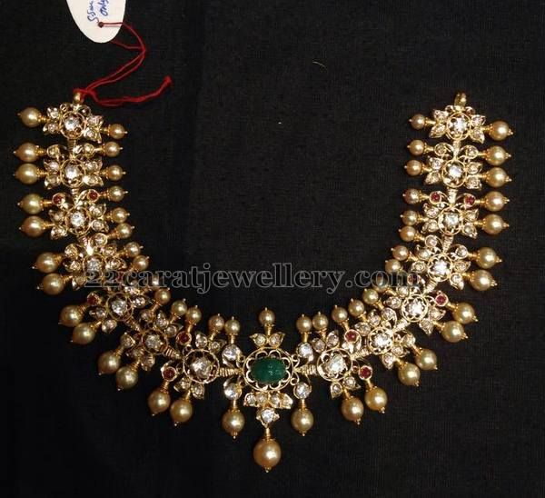 Pachi Work Choker Gold Pearls | Jewellery Designs