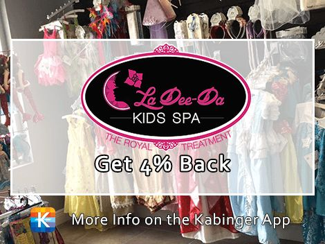 Welcome aboard, La Dee Da! 4% back on kids parties and so, so, so much more, plus coupons on the app @ladeedakidsspa