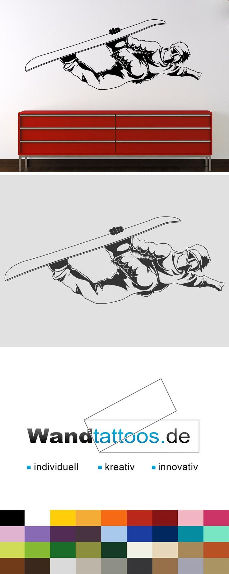 Wandtattoo Cooler Snowboarder als Idee zur individuellen Wandgestaltung. Einfach Lieblingsfarbe und Größe auswählen. Weitere kreative Anregungen von Wandtattoos.de hier entdecken!