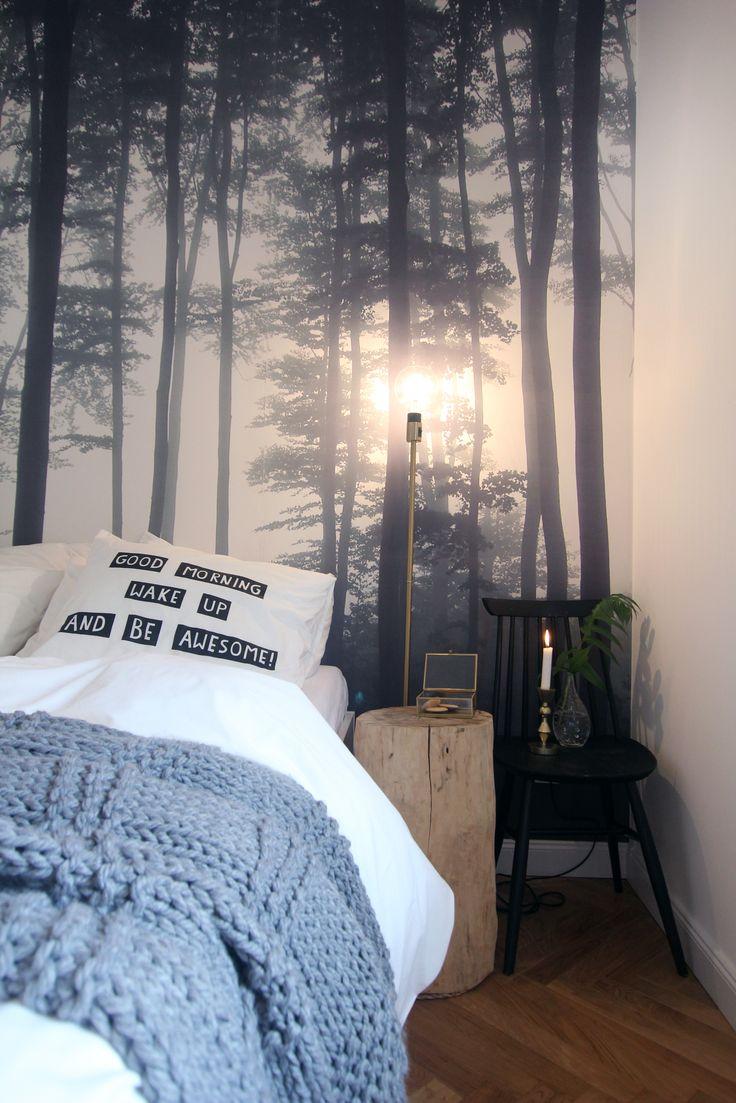 Cozy bedroom with forest wallpaper and retro chair. Design by Studio10/15 Nadia Mitłosz facebook.com/interiorstudio1015