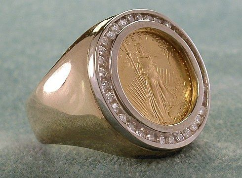 Men's Walking Liberty Gold Coin Ring featuring 1/2 carat t.w. of ...