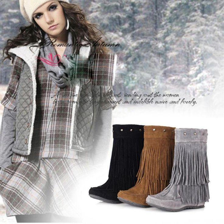 Womens Lady Rivet Tassel Fringe Hidden Wedge Heel Moccasin Ankle Boots Shoes