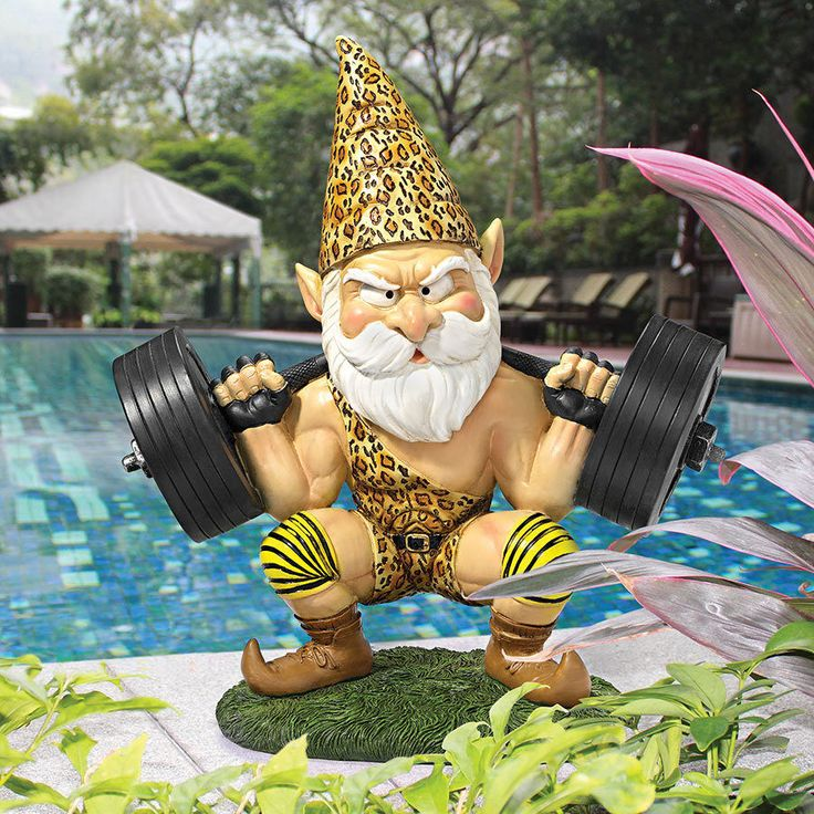 "Design Toscano 11½"" Hand Painted ©Atlas The Athletic Weightlifting Gnome Statue #DesignToscanoExclusive"