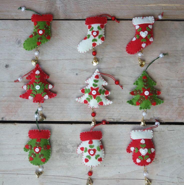 3 shabby adornos para rbol de navidad verde rojo blanco
