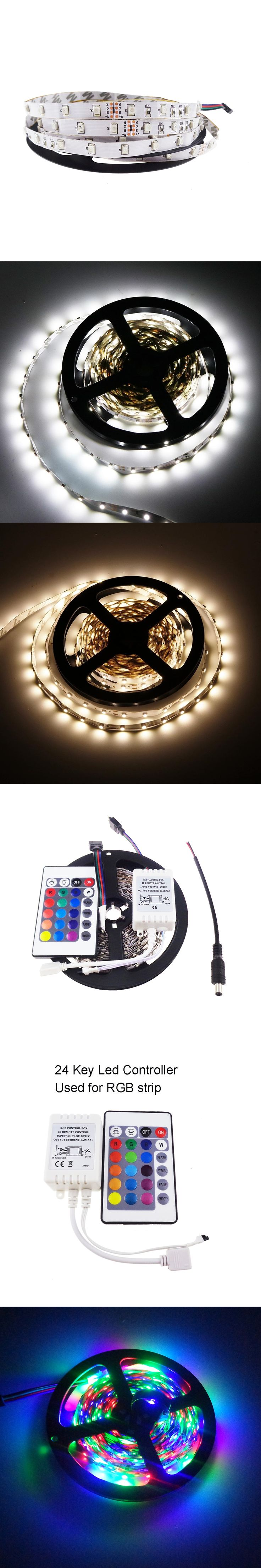 3528 led strips 300leds 5m/lot SMD chip DC12V bar light RGB color with 24Key IR remote controller DC cable non-waterproof R