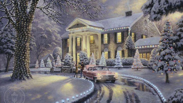 гирлянды, снег, иней, машина, сказочно, живопись, подарки, елка, ёлочки, томас кинкейд, красиво, ретро, дом, вилла, огни