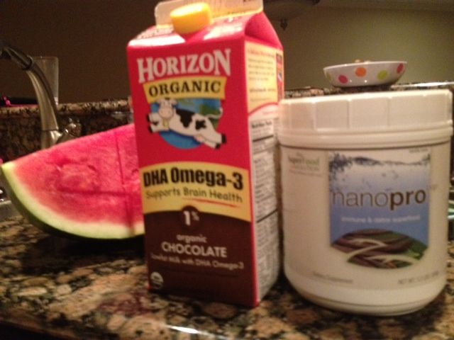 The Ultimate Post Workout Protien Drink: Organic low-fat chocolate milk, undenatured whey protein isolate and watermelon