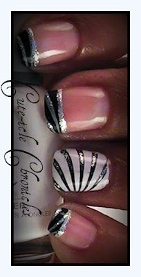Classy Stripes with black & silver french