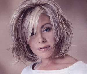 Image result for grey hair  with style trends on women over 40