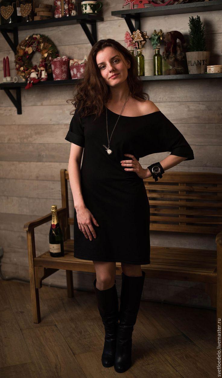 Купить Трикотажное платье свободного кроя - черный, трикотажное платье, удобное платье, длина миди