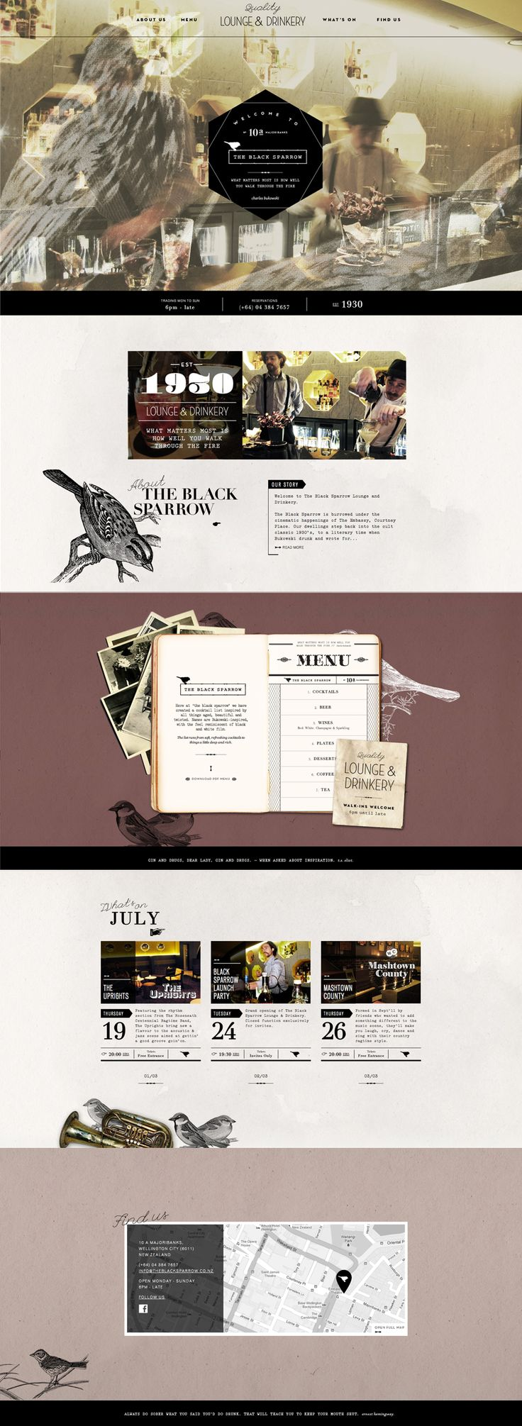 Unique Web Design, The Black Sparrow @clashingspirals #WebDesign #Design (http://www.pinterest.com/aldenchong/)