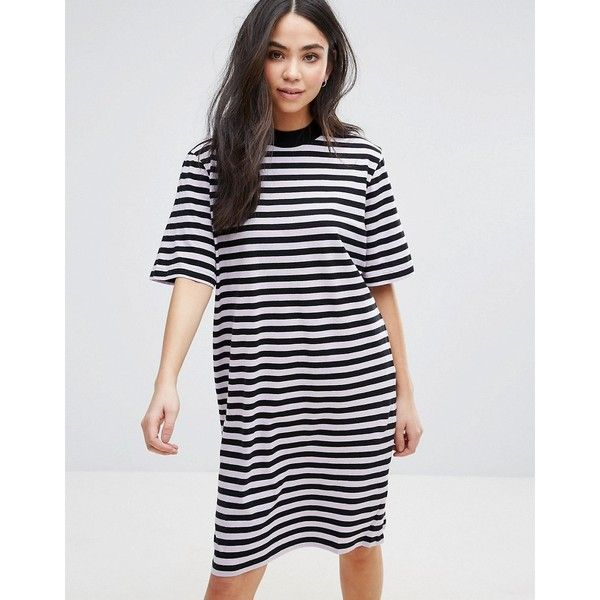 Cheap Monday Stripe Smash T-Shirt Dress (€32) ❤ liked on Polyvore featuring dresses, purple, striped jersey, stripe dresses, purple t shirt dress, purple jersey and jersey t shirt dress