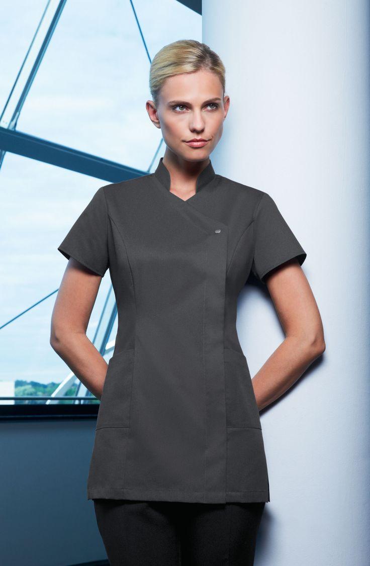 Feature press stud tunic uniform wine salon uniform for Spa uniform grey