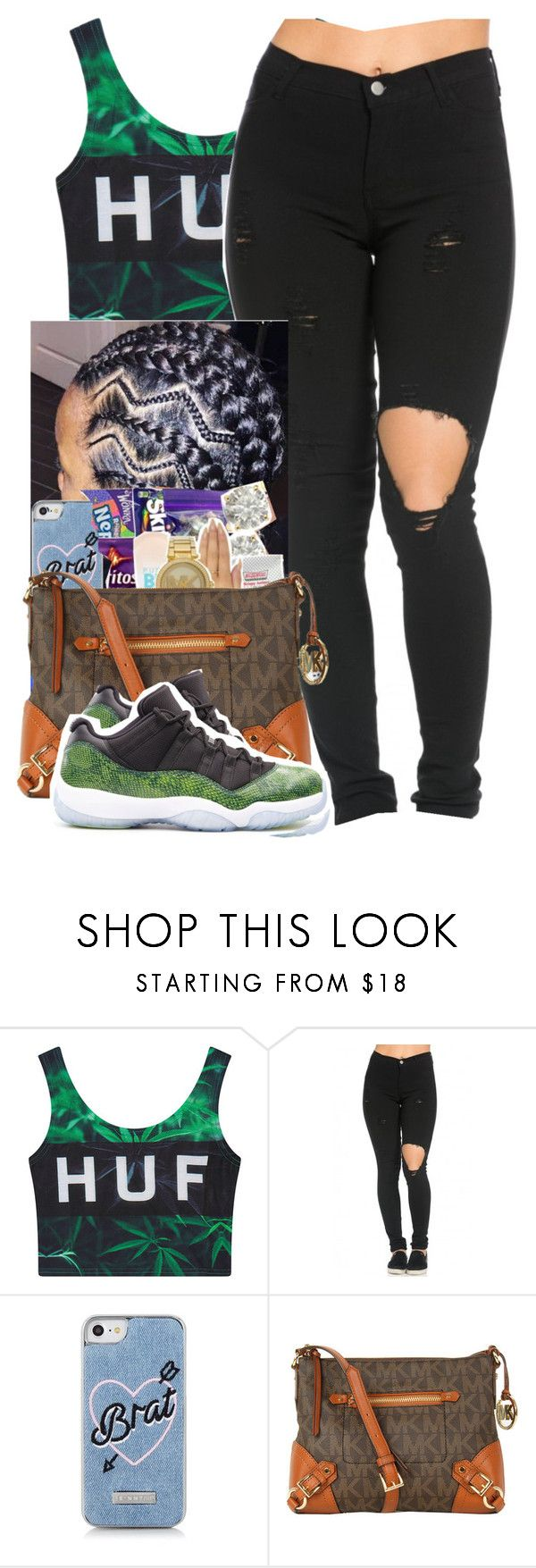 """I was Wearing Wigs I think I´m Movin' On To Braids Now~Rico Nasty"" by her-niya on Polyvore featuring HUF, Skinnydip, Michael Kors and Retrò"
